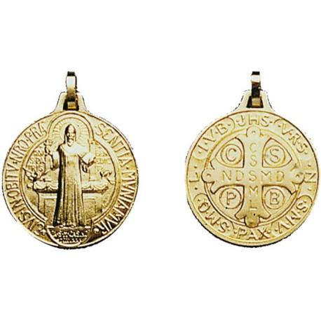 Médaille de St Benoît - petit modèle - forme ronde - gravée recto/verso dorée