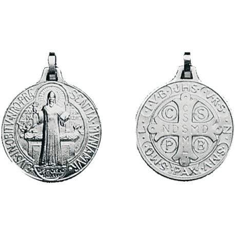 Médaille de St Benoît - petit modèle - forme ronde - gravée recto/verso argentée