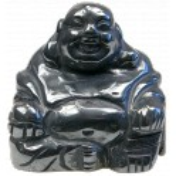 Bouddha Rieur Assis 4 cm - Hematite