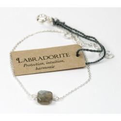 Bracelet en argent. coussin de Labradorite 7 mm