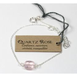 Bracelet en argent, coussin de Quartz Rose 7 mm