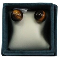 Boucles d'oreilles perle d'oeil de tigre - 6 mm - lot de 2 paires