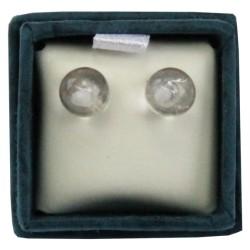 Boucles d'oreilles perle de cristal de roche - 6 mm - lot de 2 paires