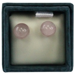 Boucles d'oreilles perle de quartz rose - 6 mm - lot de 2 paires