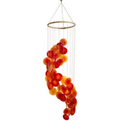 Mobile coquillages - Jaune Orange et Rouge - Spirale - 80 cm