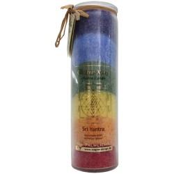 Bougie Chakra Multicolore : Sri Yantra - 7 Chakras