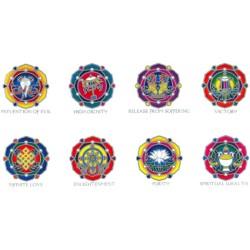 Autocollant Attrape Soleil Sunstrip : Symboles Auspicieux Bouddhistes