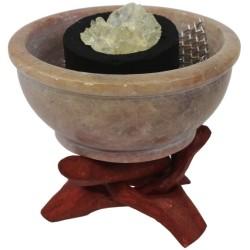 Brûle-encens pierre forme chaudron - Lot de 2