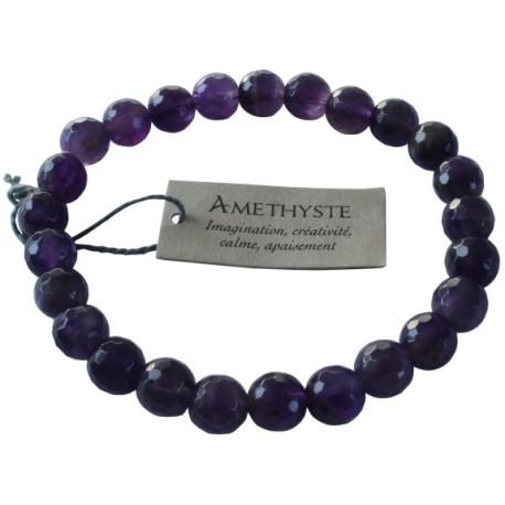Bracelet pierres rondes facettées Améthyste - lot de 3