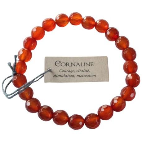 Bracelet pierres rondes facettées Cornaline - lot de 3
