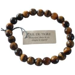 Bracelet pierres rondes facettées Oeil de Tigre - lot de 3
