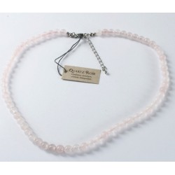 Collier Quartz rose perles rondes 6 mm