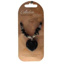Collier pendentif coeur et perles baroques - Onyx - lot de 6