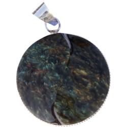 Pendentif yin yang obsidienne manta huichol - modèle rond