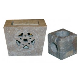Lot de 2 Bougeoirs pierre - Pentagramme