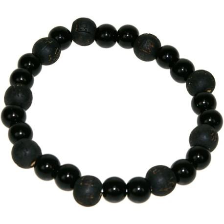 Bracelet perles de karma - Onyx / Bois Noir