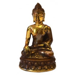 Statue Bouddha Thai qualité Bronze antique doré 4x8 cm