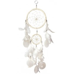 Dreamcatcher 2 branches blanc avec coquillages 15x45 cm