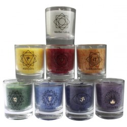 Bougie des chakras + Lotus Blanc - Lot de 8