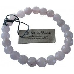 Bracelet pierres rondes facettées Quartz rose - lot de 3