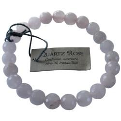 Bracelet pierres rondes facettées Quartz rose - lot de 3