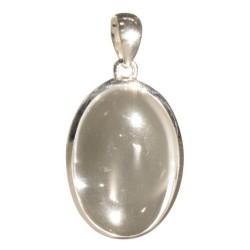 Pendentif Ovale en Argent - Pierre de Cristal de Roche 3 cm