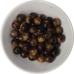 Perles Oeil de Tigre 8 mm - Sachet de 50 perles