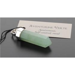 Pendentif Argent pointe Aventurine Verte