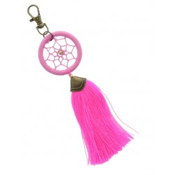 PORTE CLES DREAMCATCHER POMPON ROSE