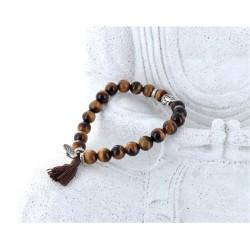 Bracelet Yoga Oeil de Tigre Pompon et Lotus