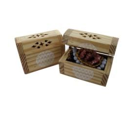 Boite à bijoux en bois avec velours à l'intérieur - Ornement Fleur de Vie - Lot de 2