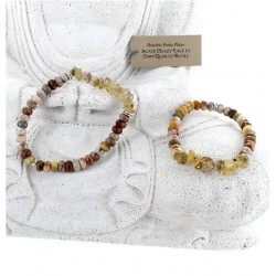 Bracelet Agate Crazy Lace et Chips Quartz Rutile - Lot de 2