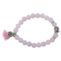 Bracelet Yoga Quartz Rose Pompon et Lotus
