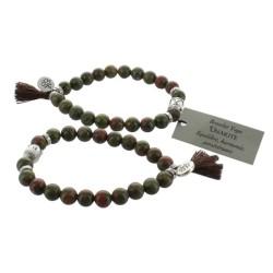 Bracelet Yoga Unakite Pompon et Lotus - lot de 2