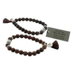 Bracelet Yoga Bois Pétrifié Pompon et Lotus - lot de 2