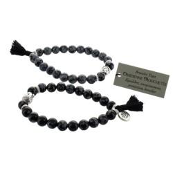 Bracelet Yoga Obsidienne Mouchetée Pompon et Lotus - lot de 2