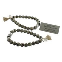 Bracelet Yoga Jaspe Dalmatien Pompon et Lotus - lot de 2