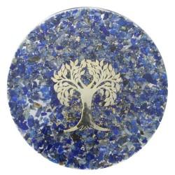 Sous verre Orgonite Lapis Lazuli avec symbole Arbre de Vie