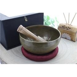 Coffret Bol chantant Traditionnel Gravure Bouddha Diamètre env. 14 cm