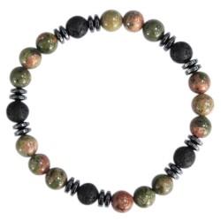 Bracelet H Unakite. Pierre de lave Perles rondes 8 mm