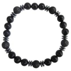 Bracelet H Onyx noir. Pierre de lave Perles rondes 8 mm