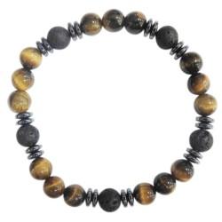 Bracelet H Oeil de tigre et Pierre de lave Perles rondes 8 mm
