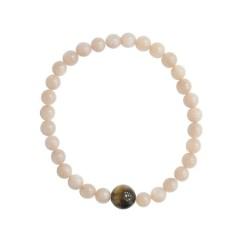 Bracelet Pierre de lune Perles rondes 6 mm et Perle unique Oeil de tigre 1 cm