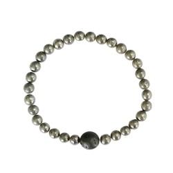 Bracelet Pyrite Perles rondes 6 mm et Perle unique Lave 1 cm