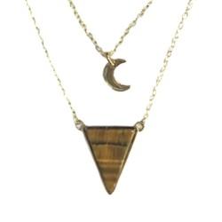 Collier Oeil de Tigre Triangle et Lune Chaîne dorée