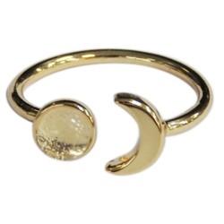 Bague Cristal de Roche Perle 6 mm et Lune Métal doré Ajustable