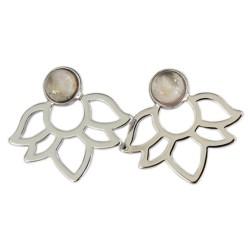 Boucles d'oreilles Quartz Rose Perle et Lotus Métal argenté