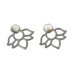 Boucles d'oreilles Agate Crazy Lace Perle et Lotus Métal argenté