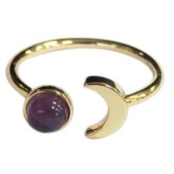 Bague Améthyste Perle 6 mm et Lune Métal doré Ajustable