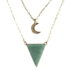 Collier Aventurine Verte Triangle et Lune Chaîne dorée